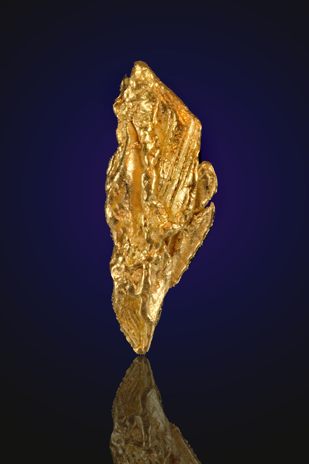 Striated Feather form - Natural Alaska Gold Nugget