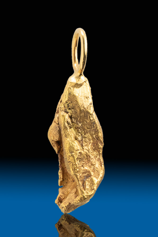 Elongated Natural Alaskan Gold Nugget Pendant
