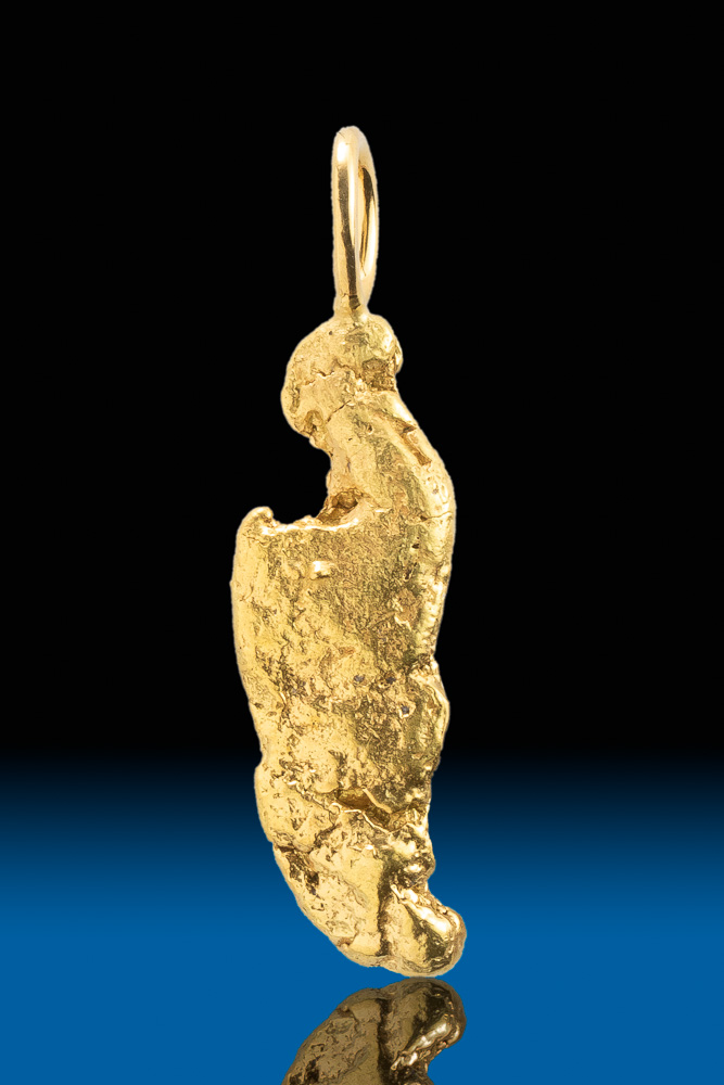 "Long ""Knife Blade"" Shape - Natural Alaskan Gold Nugget Pendant"