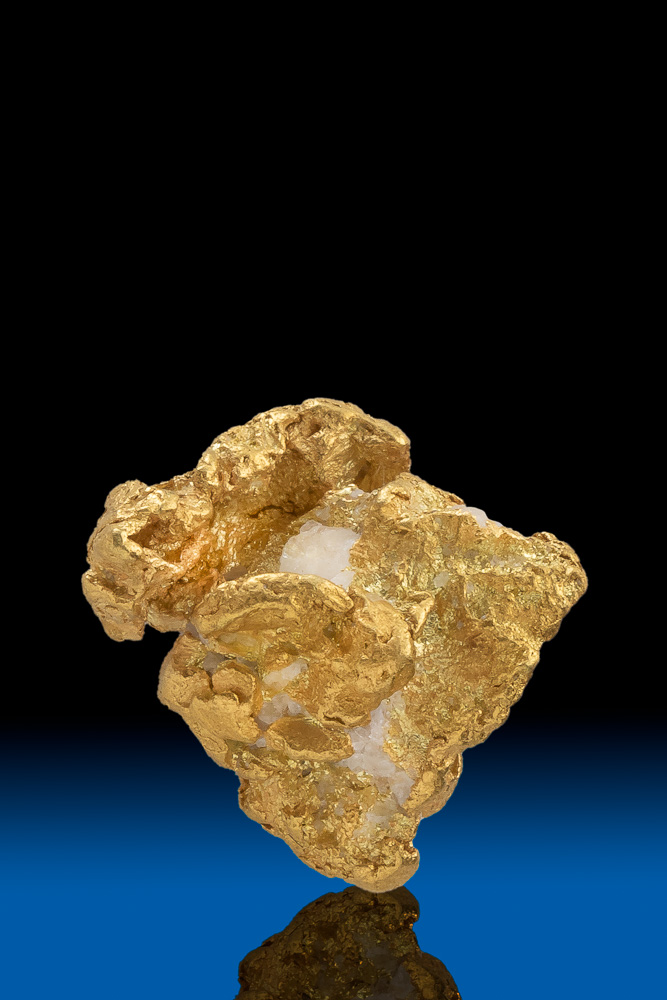 Intricate and Brilliant Natural Gold and Quartz Nugget - Alaska