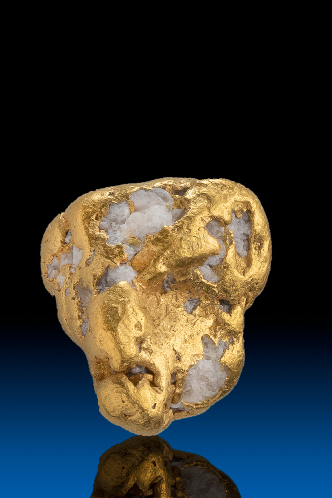 Oblong Beautiful Gold and Quartz Gold Nugget - Alaska