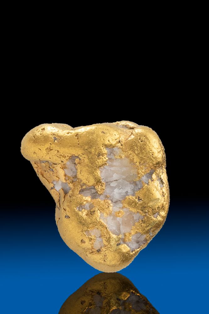 Brilliant River Worn Gold and Quartz Nugget from Alaska