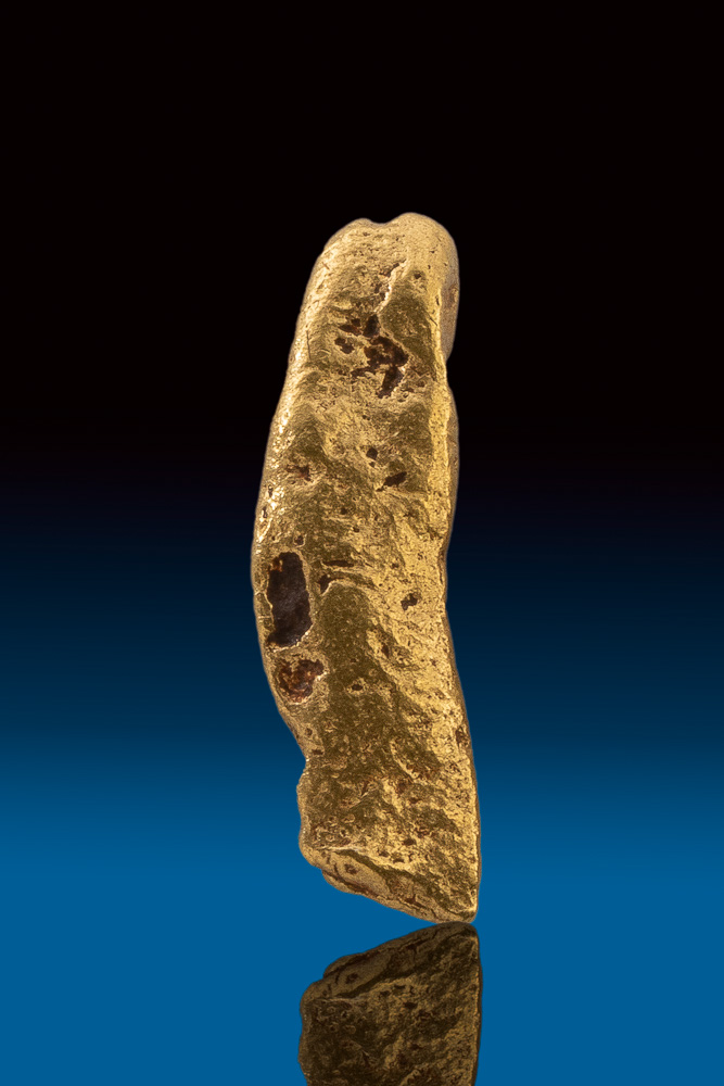 Shiny Unique Elongated Natural Gold Nugget from Australia