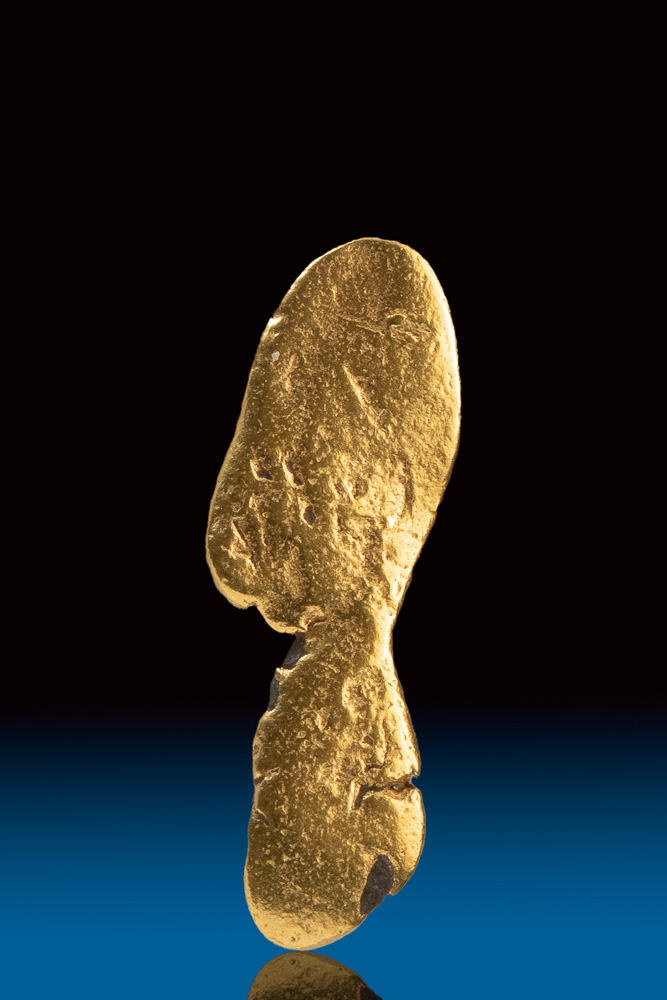 Shiny Long Natural Gold Nugget from the Bering Sea