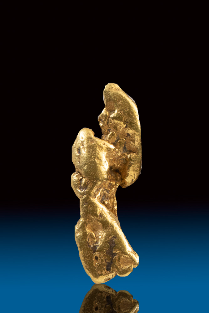 Gorgeous Elongated Natural Gold Nugget from the Bering Sea
