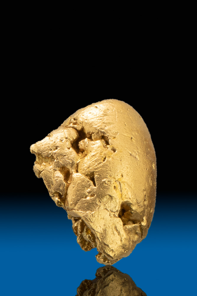 Rounded and River Worn Smooth Gold Nugget from Calaveras, CA