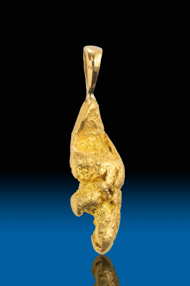 Chunky Elongated Natural California Gold Nugget Pendant