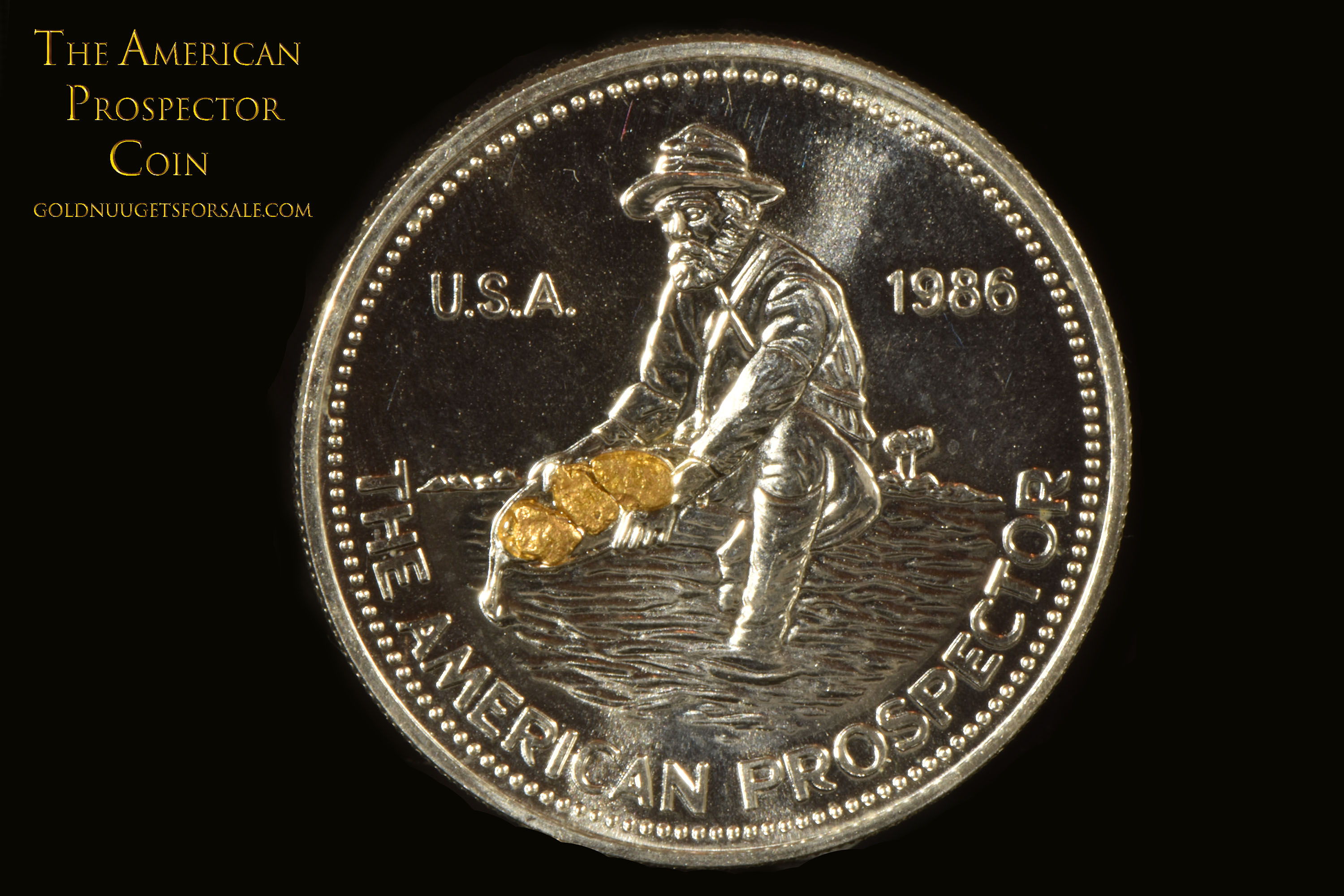 American Prospector - Silver Coin with 3 Gold Nuggets