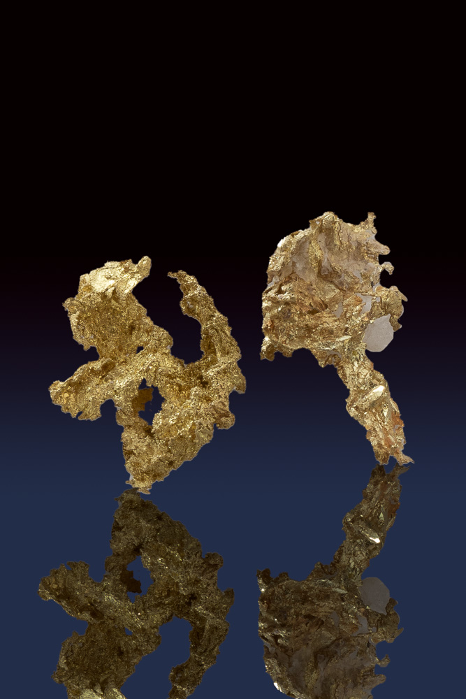 Two Beautiful Lacey Crystalline Gold Pieces from the Allegheny