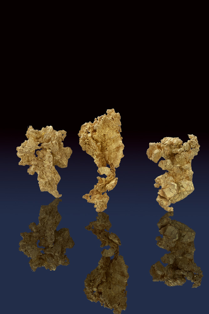 Three Amzing Crystalline Gold Nuggets from the Allegheny