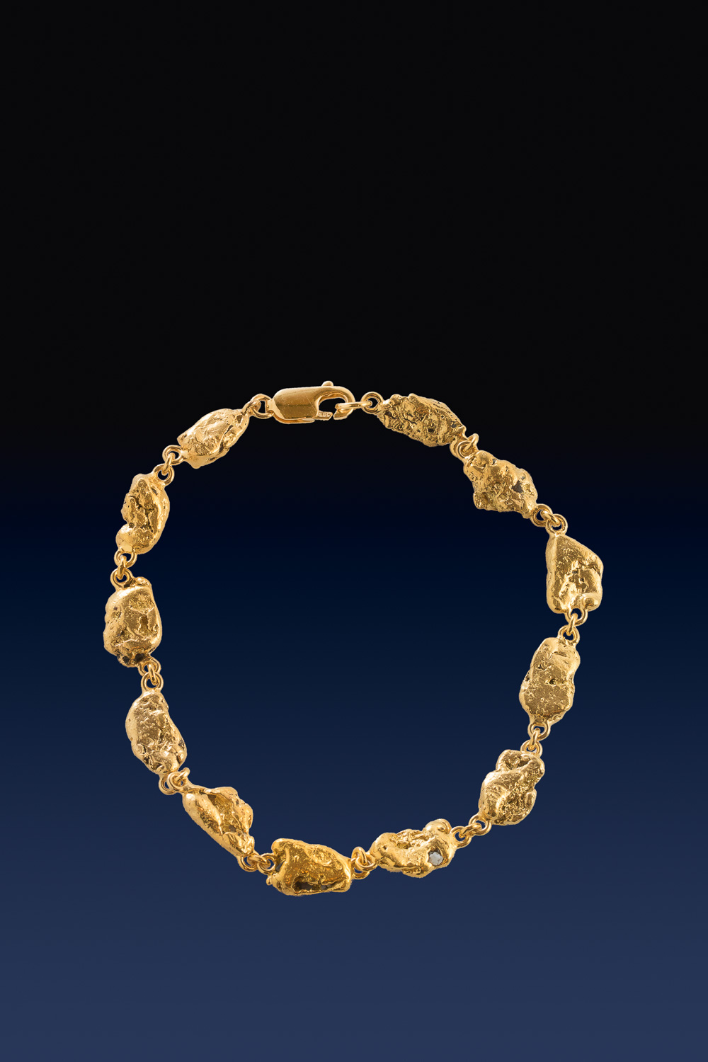 One of a Kind Natural Alaskan Gold Nugget Bracelet