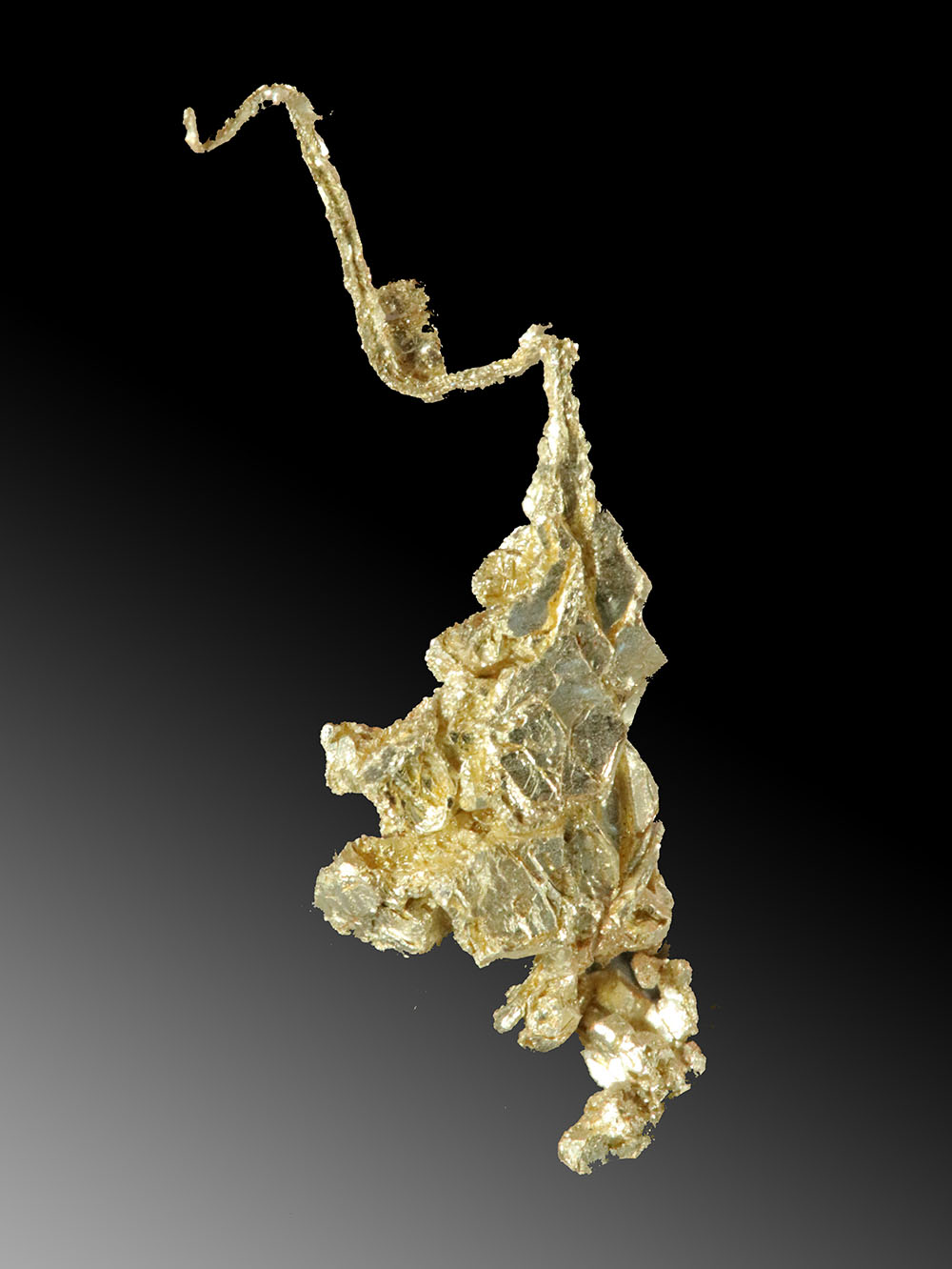 Brilliant Gold Crystal Cluster that Tapers to Fine Leaf Gold