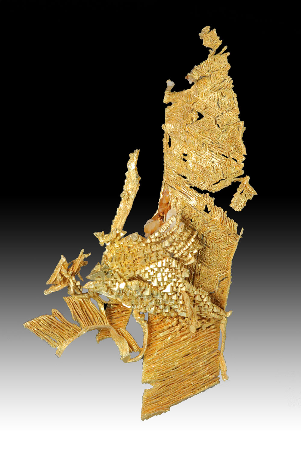 Magnificent Trigon Cluster on Wire Gold - Amazing Gold Specimen