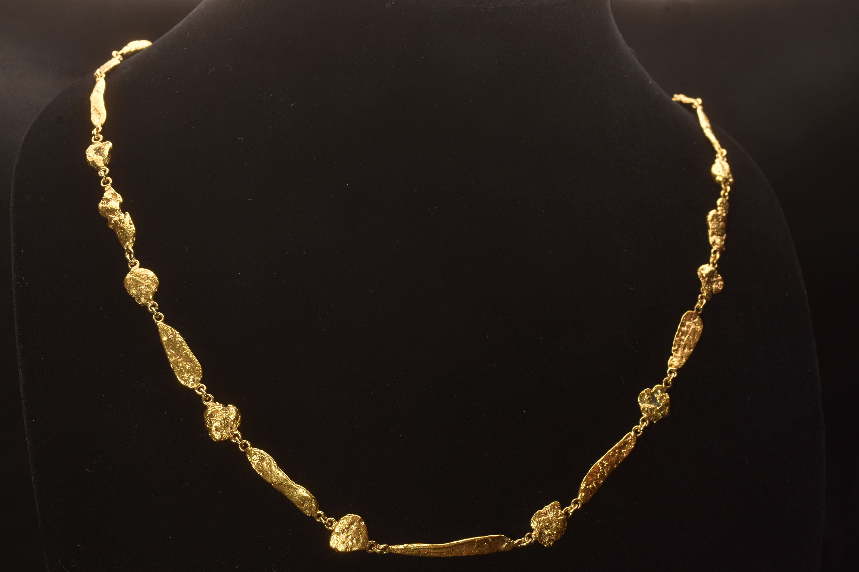 Spectacular One-Of-A-Kind Natural Alaska Gold Nugget Necklace