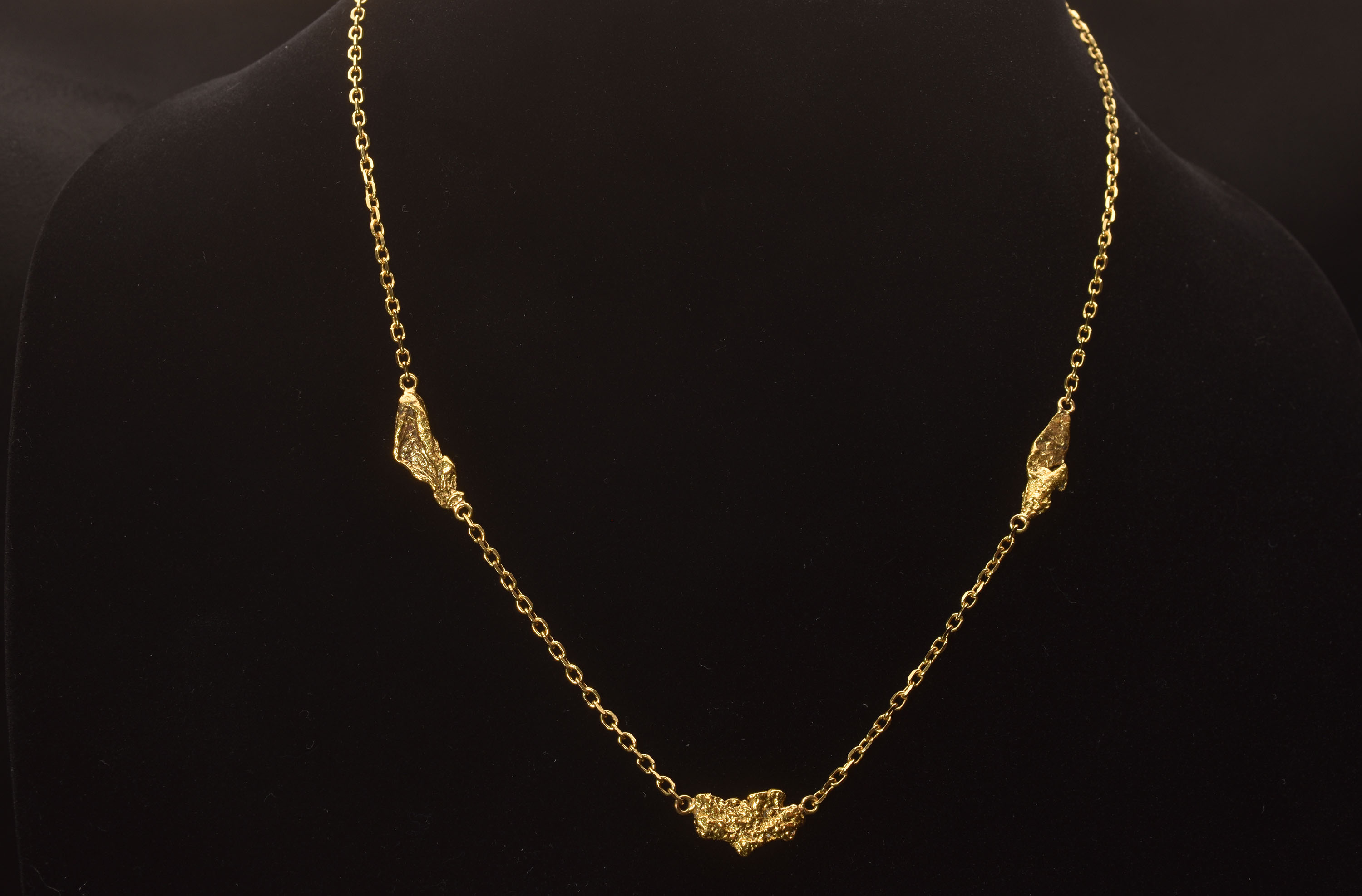 Brilliant Three Alaska Gold Nugget Necklace