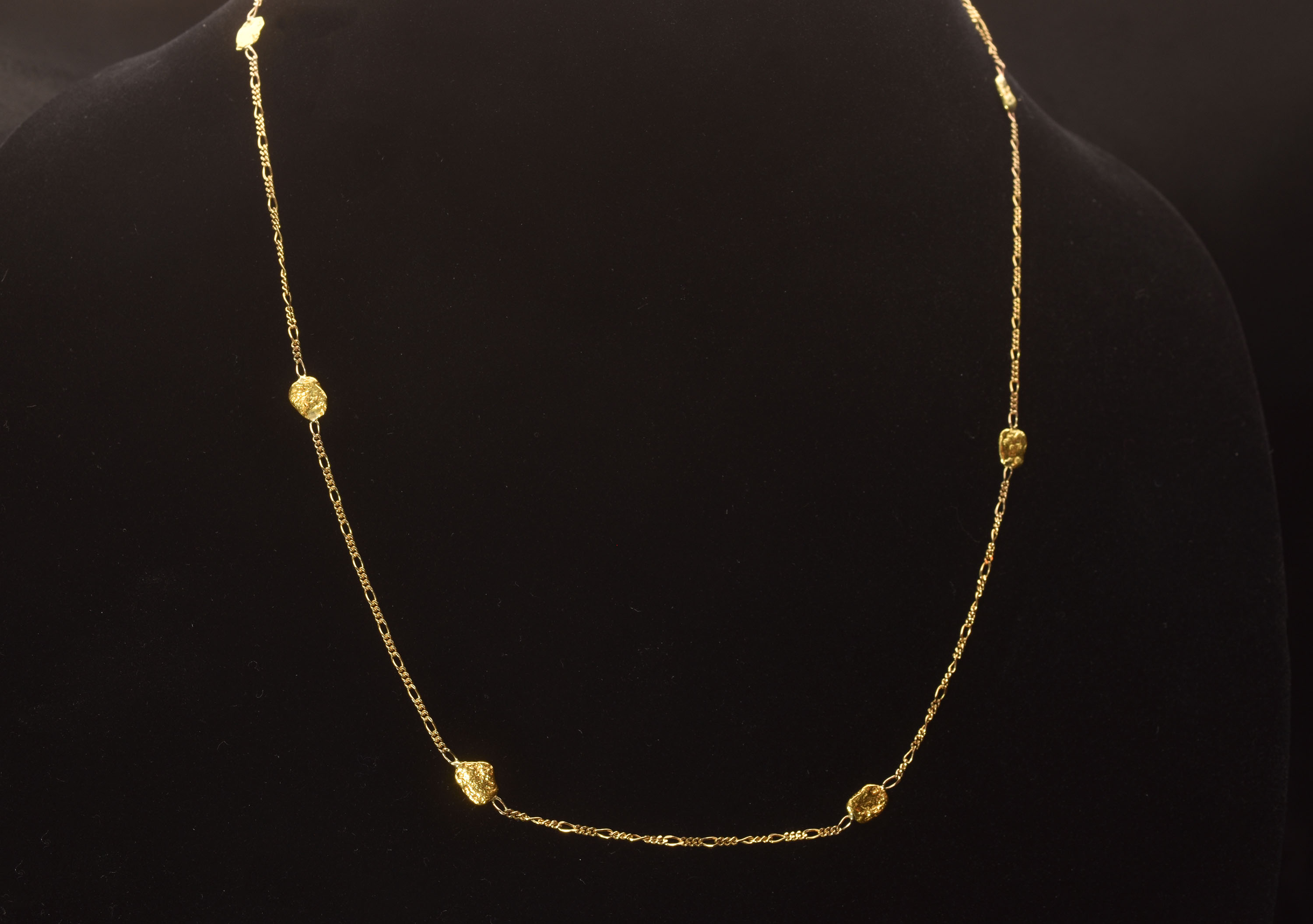 Sophisticated Seven Alaskan Gold Nugget Necklace