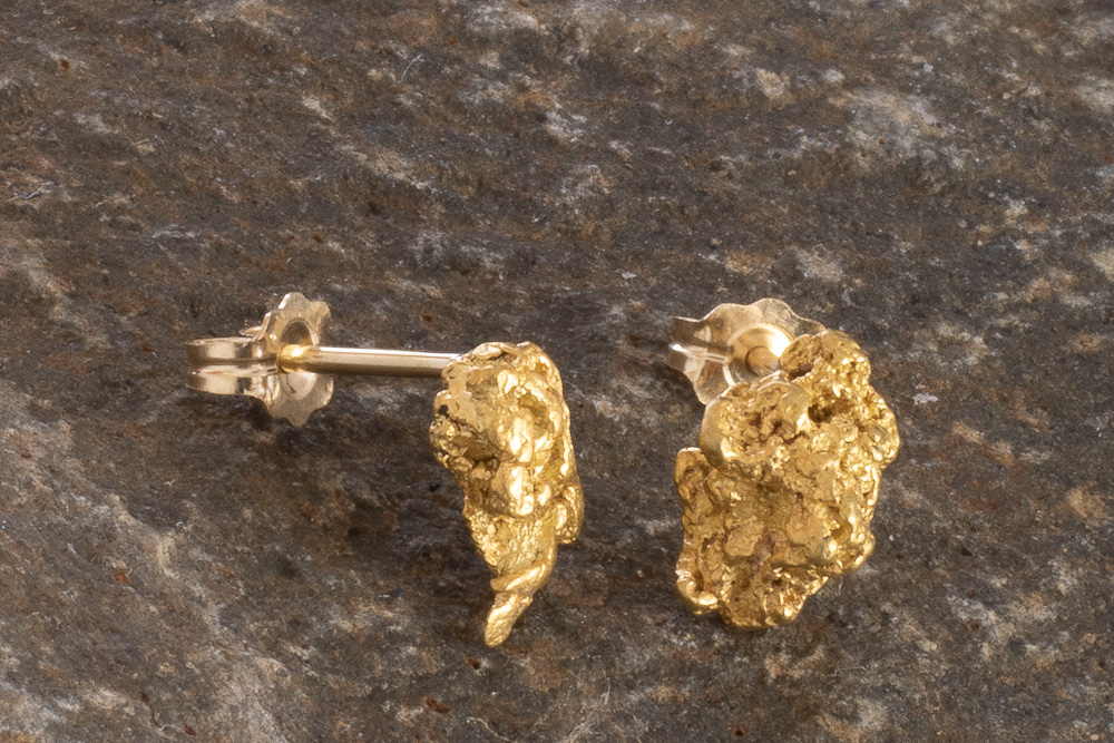 Beautifully Detailed Natural Gold Nugget Earrings from Alaska