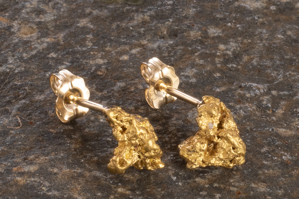 Beautiful Natural Gold Nugget Earrings from Alaska
