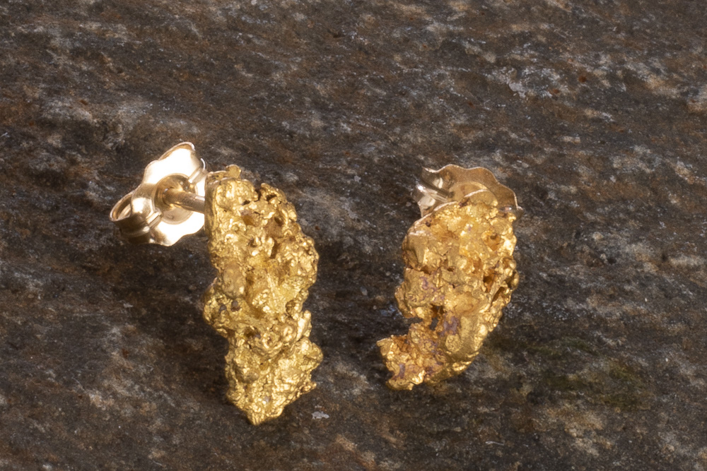 Interesting and Rare Natural Gold Nugget Earrings from Alaska