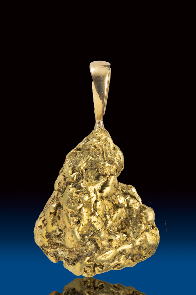 Shiny Chunky Natural Gold Nugget Pendant from Alaska