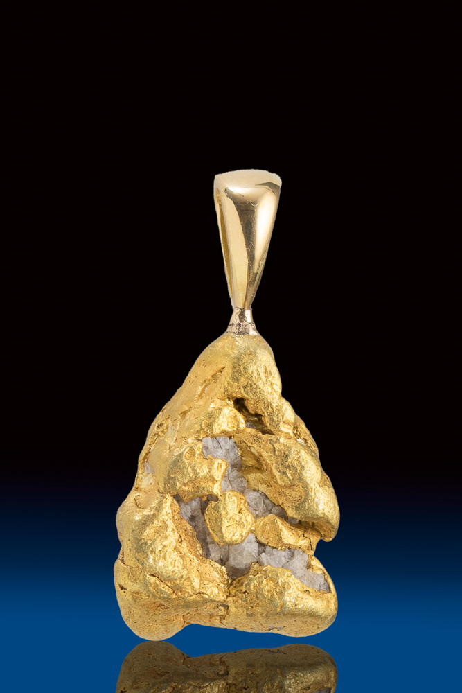 Lovely Natural Gold Nugget w/White Quartz Nugget - Alaska
