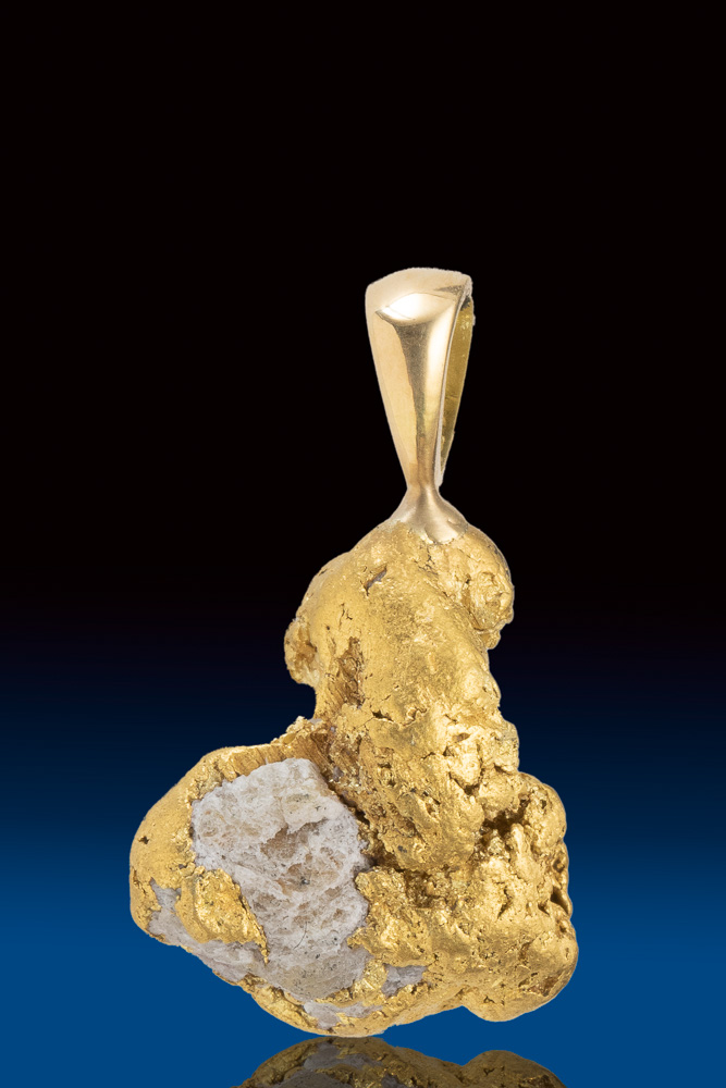 Interesting Natural Gold and Quartz Nugget Pendant - AL