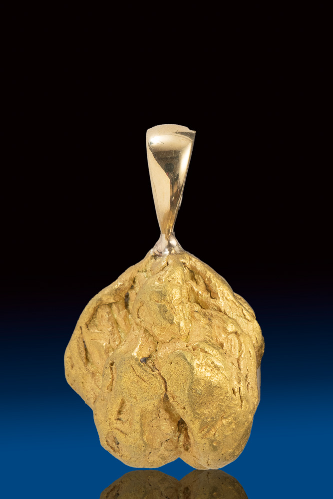 "Rare ""Buttery' Natural Gold Nugget Chunky Pendant from Alaska"