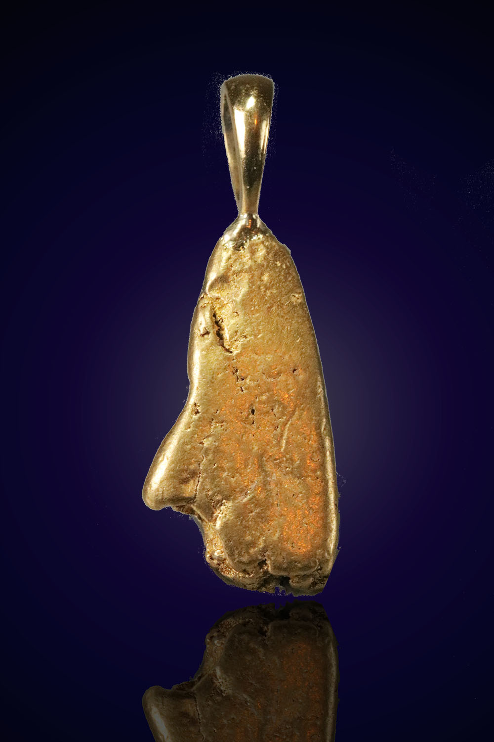 Elongated Smooth Gold Nugget Pendant