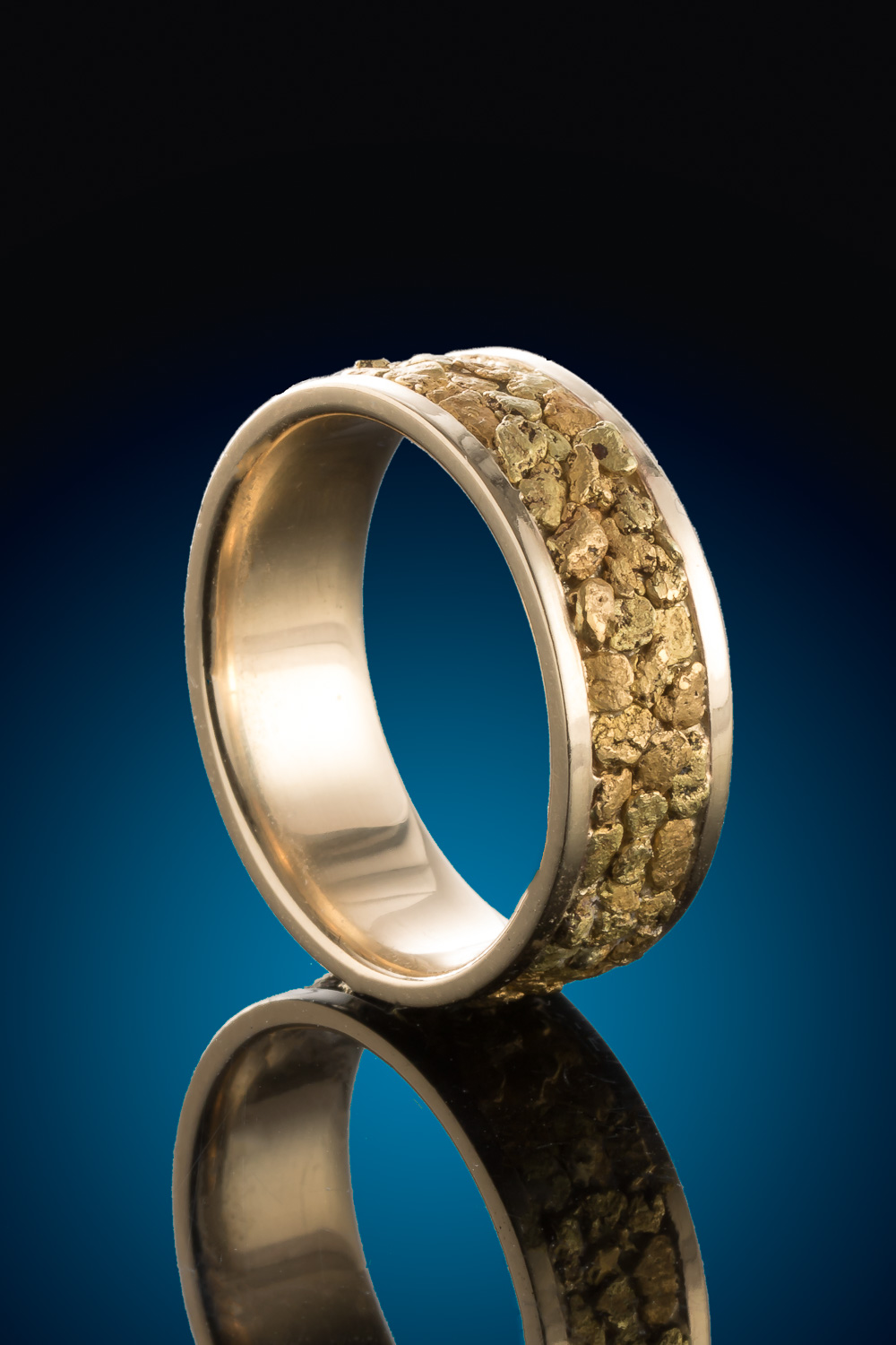 Sophisticated and Impressive Custom Gold Nugget Ring
