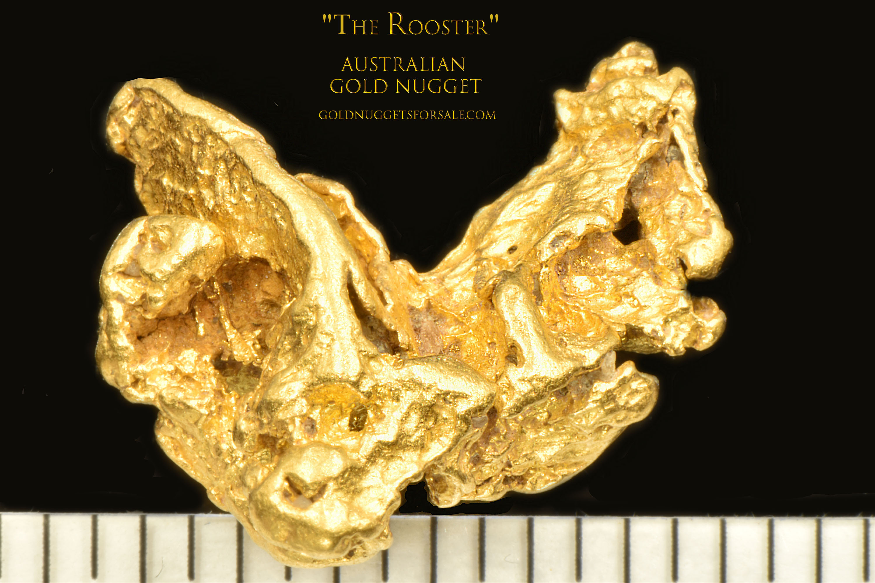 """Rooster"" Shaped Gold Nugget From Australia - High Purity"
