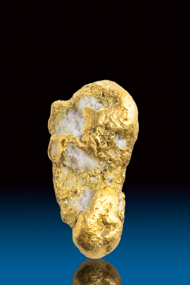 Textured Long Natural Gold and White Quartz Alaskan Nugget