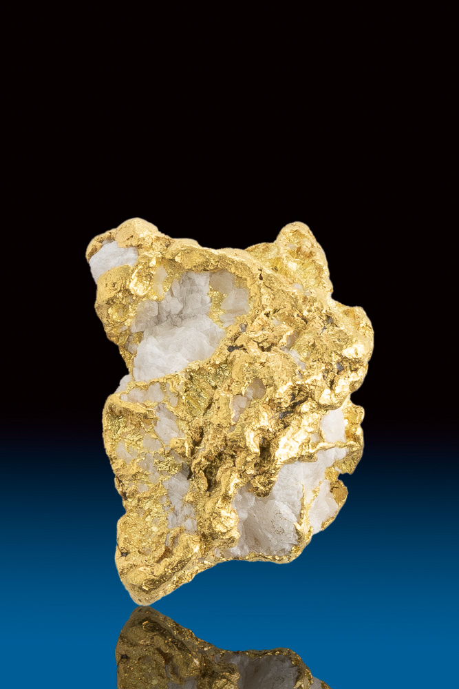 Rare Textured Natural Gold and White Quartz Alaskan Nugget