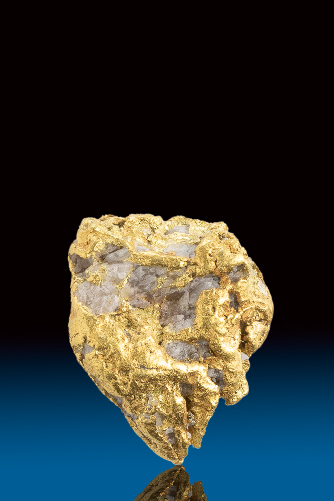 Beautiful White Quartz in Natural Gold Nugget from Alaska