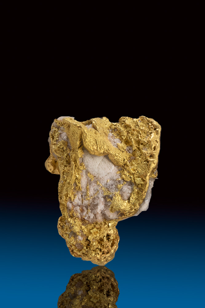 Wonderfully Textured Natural Gold and Quartz Nugget from Alaska