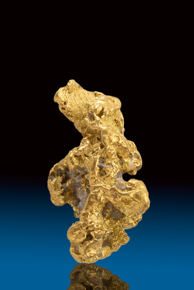 Brilliant Natural Gold and Quartz Nugget - Alaska