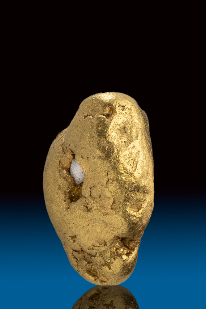 "Shiny ""River Worn"" Natural Gold and Quartz Nugget from Alaska"