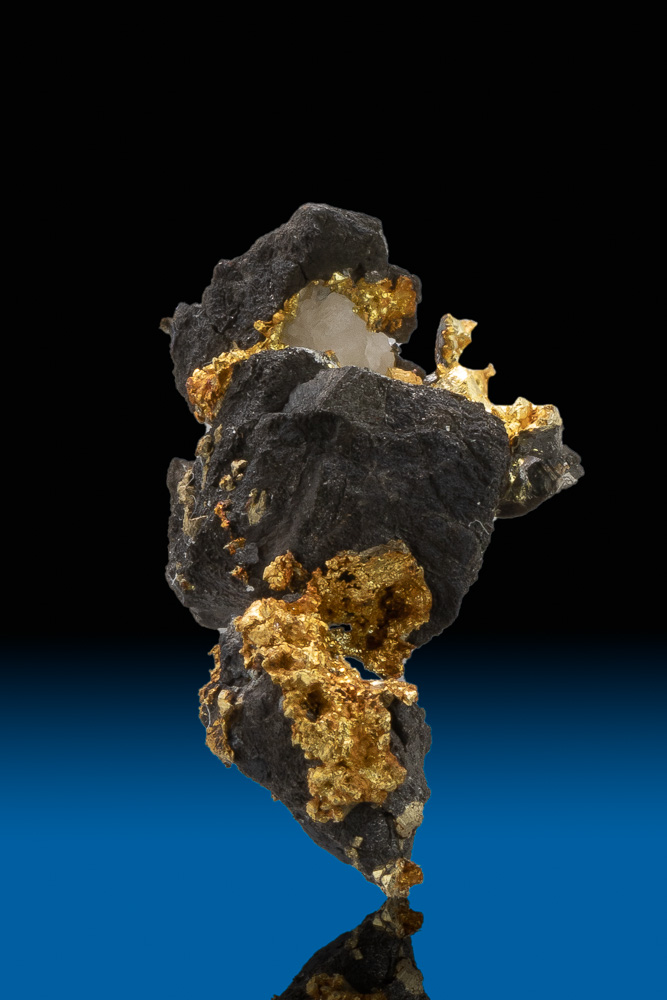 Gold on Black - Intricate Arsenopyrite and Gold Specimen - CA