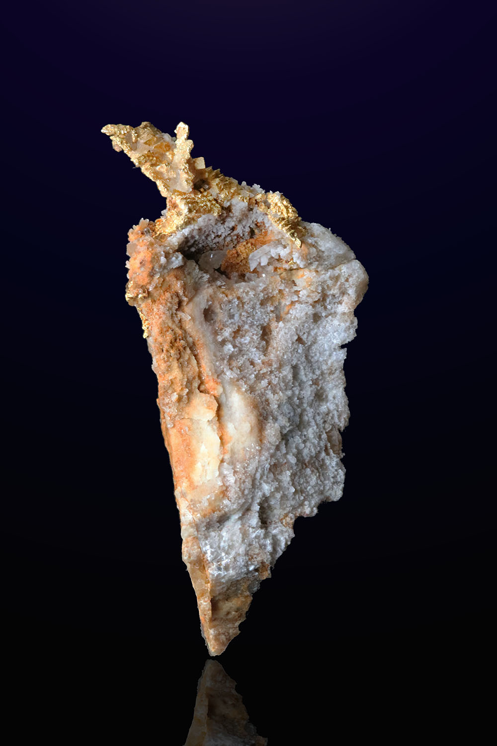 Trigon Gold Cluster on Quartz - Round Mountain Gold Mine - Click Image to Close