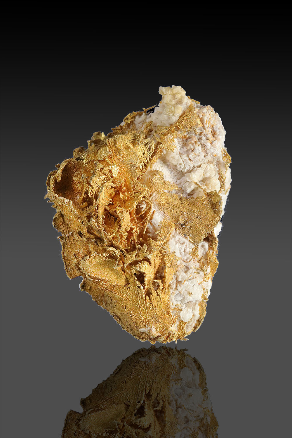 Dendritic Gold Crystals on Quartz - Round Mountain, Nevada
