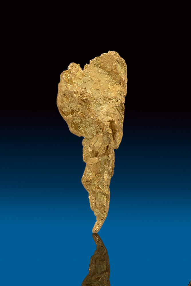 Elongated and Tapered Triangular Natural Gold Nugget from Nevada