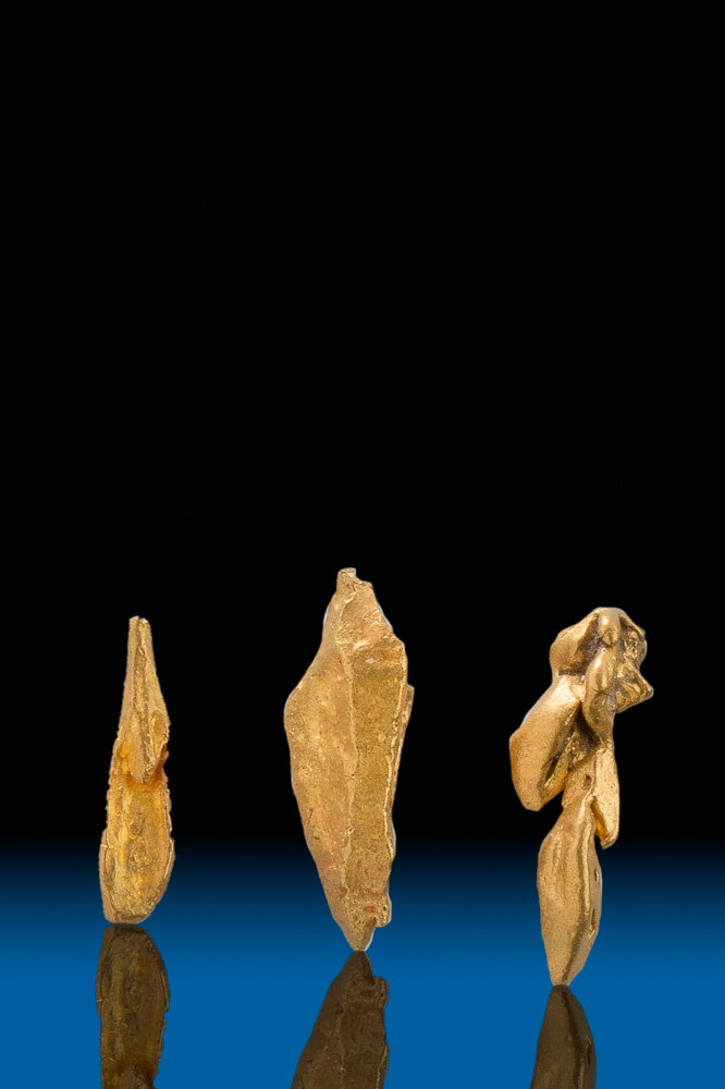 "Three Elongated ""Spear"" Gold Crystals from Venezuela"