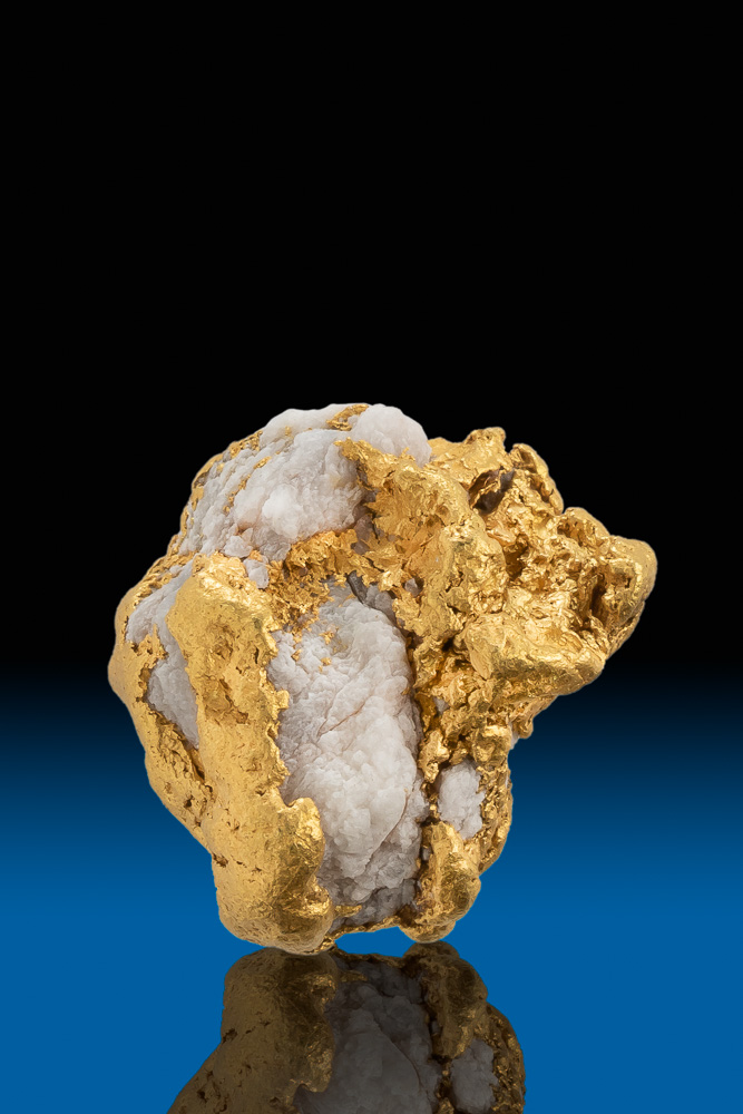 Round and Chunky Natural Gold and Quartz Nugget - Alaska