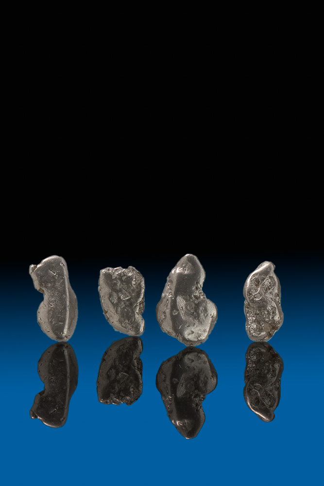 Four Oblong Natural Platinum Nuggets - Choco, Columbia