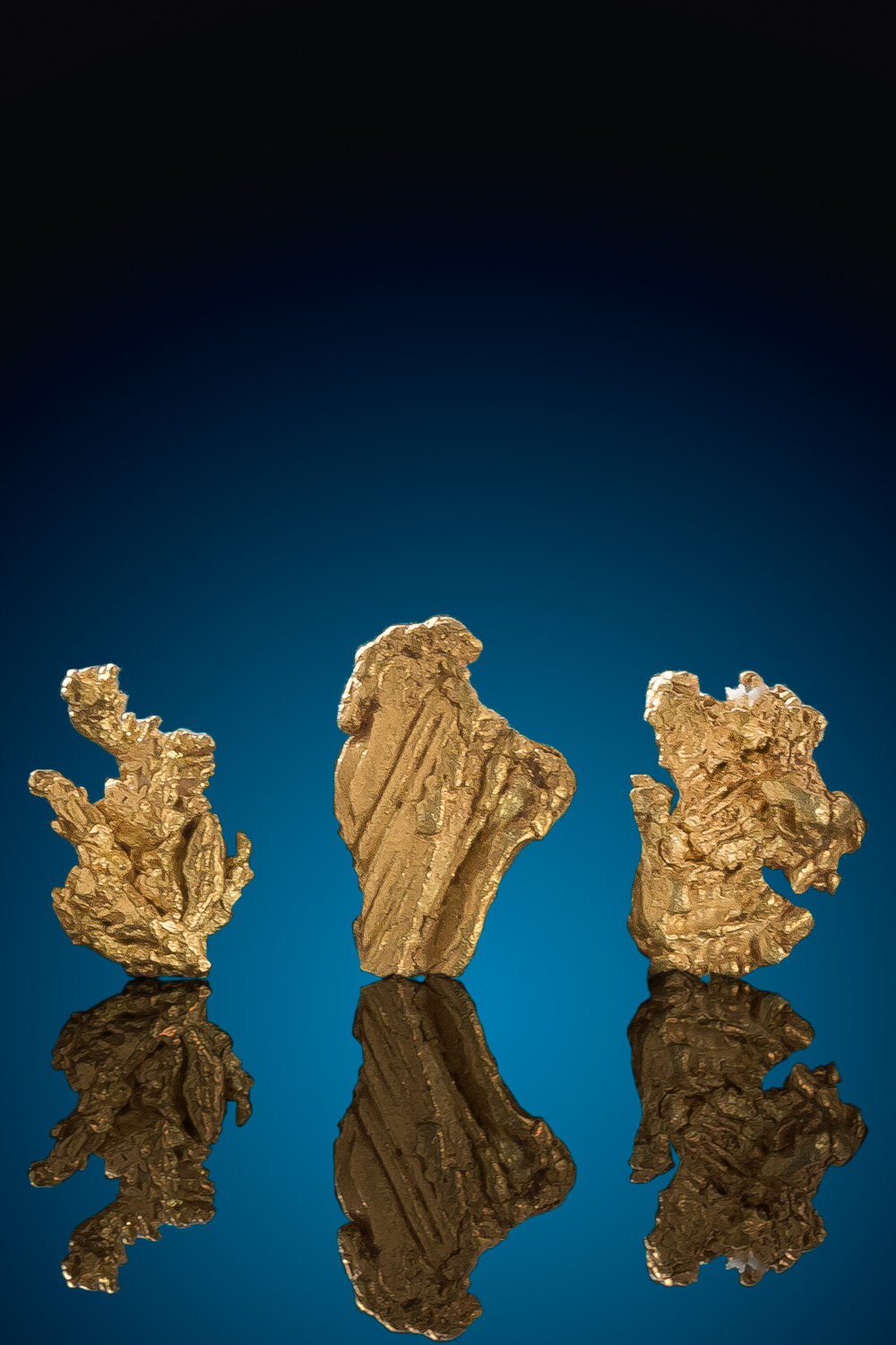 Four Wire Gold Nugget Specimens - Bradshaw Mountains, Arizona - Click Image to Close