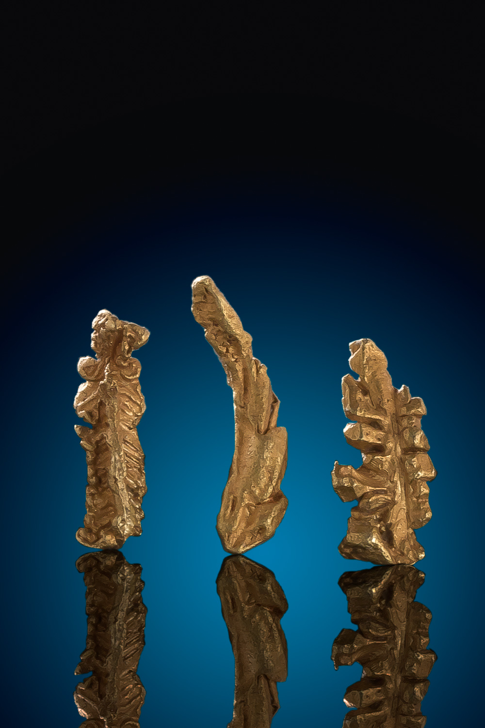 Three Crystalized Wire Gold Nugget Specimens - Arizona