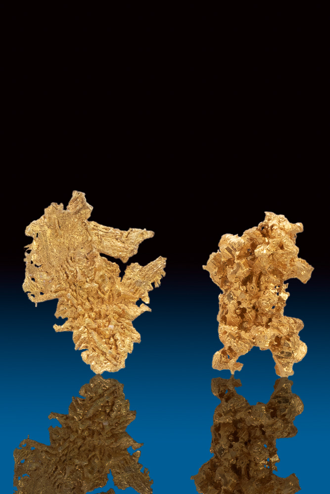Two Beautifully Detailed Crystal Gold Nuggets - Round Mountain