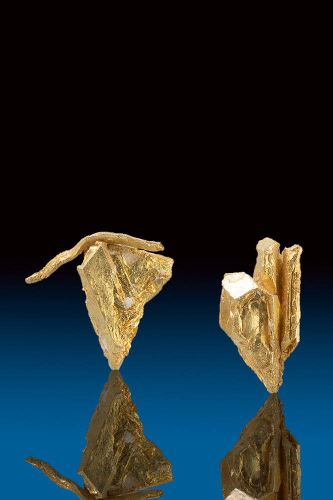 Two Rare Natural Gold Crystal Nuggets from Round Mountain