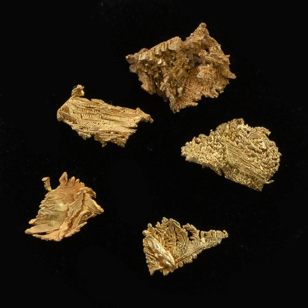 Five Extra Sharpd Gold Crystals - Lot 125