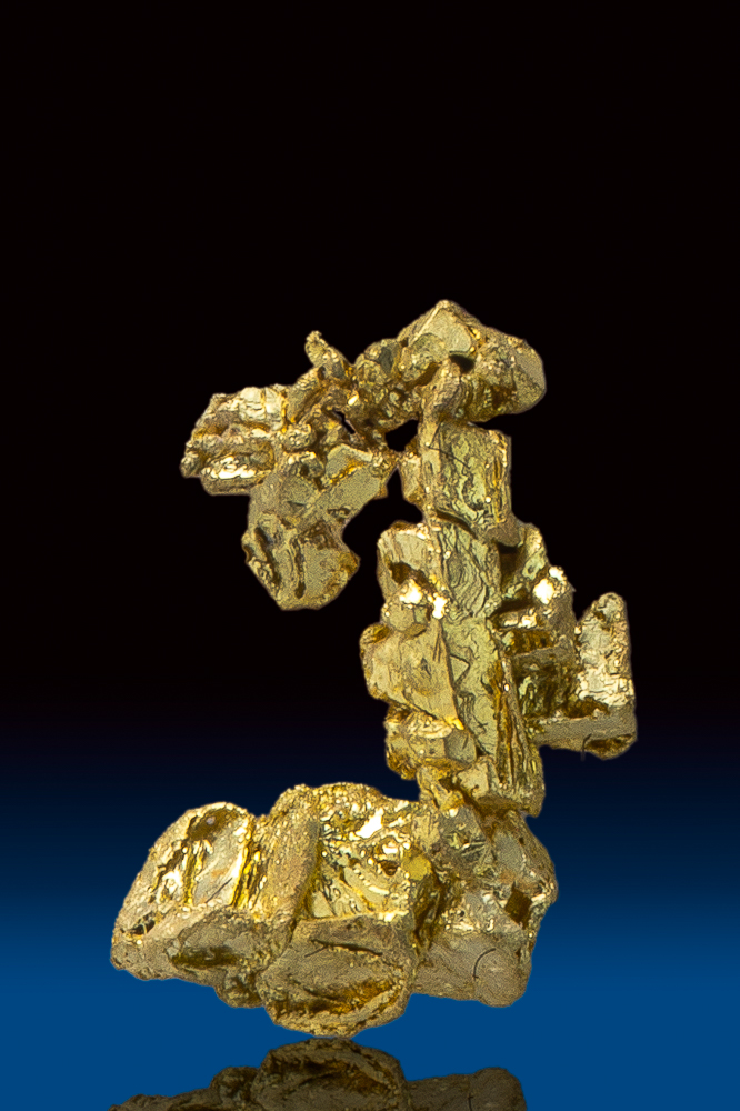 Sharp Octahedron Gold Crystal Cluster - Round Mountain, NV