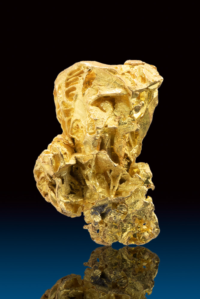 Faceted and Plump Gold Nugget Crystal from the Yukon